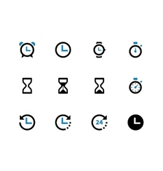 Time and clock duotone icons on white background vector