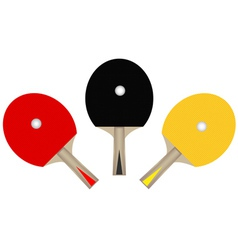 Three table tennis rackets vector
