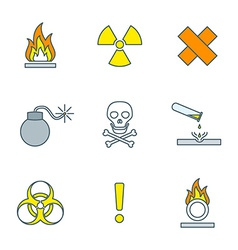 Colored outline hazardous waste symbols warning vector