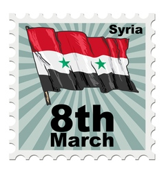Post stamp of national day of syria vector