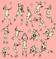 Woman volley ball action sport vector