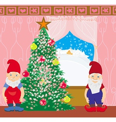 Gnomes and christmas tree vector