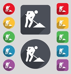 Repair of road construction work icon sign a set vector