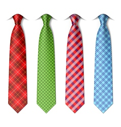 Plaid checkered silk ties vector
