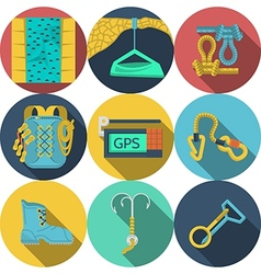 Flat icons for climbing equipment vector