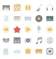 Music and audio flat icons set vector