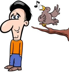Man and bird cartoon vector