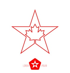 Minimal monochrome vintage star with canadian vector