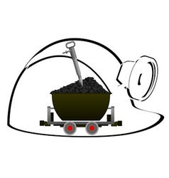 Trolley with coal vector