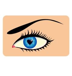 Eye with heart iris vector