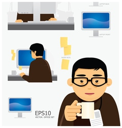 Characters office work set vector