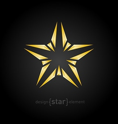 Abstract broken gold star on black background vector