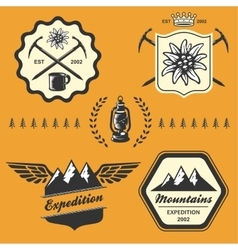 Mountain hiking outdoor symbol emblem label vector