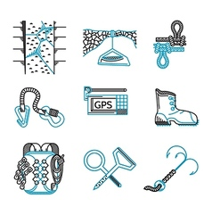 Flat line icons for rappeling equipment vector