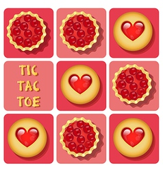 Tic-tac-toe of cookie and tart vector