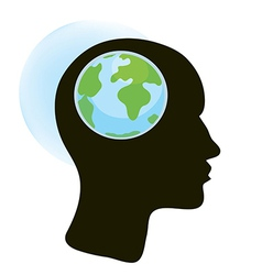 Brain and globe concept vector