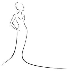 Black line woman vector
