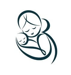 Young mom hugs her baby stylized symbol vector