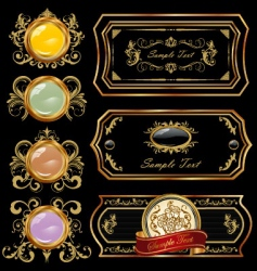 Decorative gold label vector