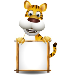 Funny tiger cartoon with blank sign vector