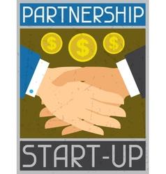 Start-up partnership retro poster in flat design vector