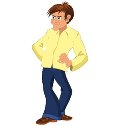 Cartoon man with long nose and yellow shirt vector