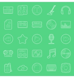 Music and audio thin lines icons set vector