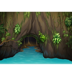 A cave and water vector