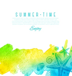 Summer design with hand drawn sea creatures vector