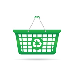 Sign for recycling on a green basket vector