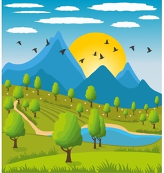 Beauty landscape with mountain background vector