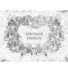 Grunge damask background with floral frame vector