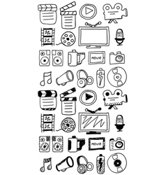 Hand drawn movie doodles vector