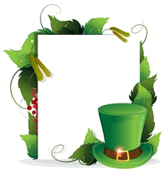 Leprechaun hat with leaves vector