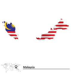 Map of malaysia with flag vector