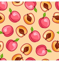 Seamless pattern with stylized fresh ripe peaches vector