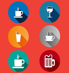 Icons in a flat design glasses mugs vector