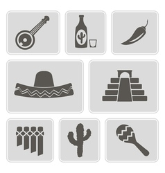 Monochrome icons with symbols of mexico vector