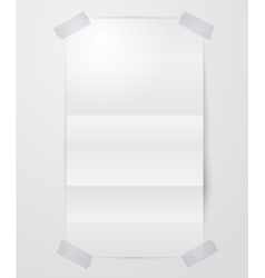 Folded paper sheet with scotch tape vector