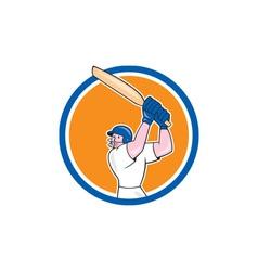 Cricket player batsman batting circle cartoon vector