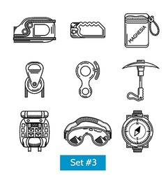 Black icons for rock climbing equipment vector