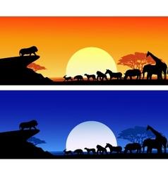 Animal silhouete background vector