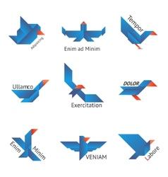 Set of origami birds vector