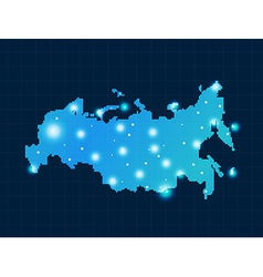 Pixel russia map with spot lights vector