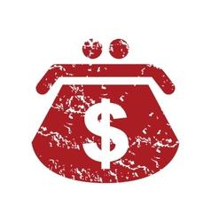 Red grunge dollar purse logo vector
