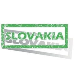 Green outlined slovakia stamp vector