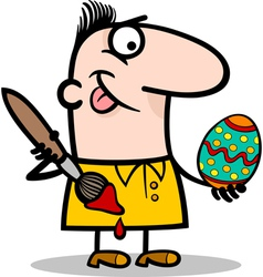 Man painting easter egg cartoon vector