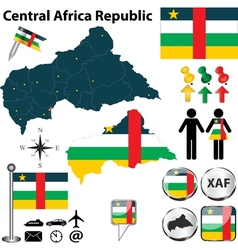 Central africa republic map small vector