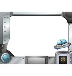 A metal frame with a robot inside a saucer vector