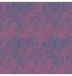 Pattern with flowers and a deer skull vector